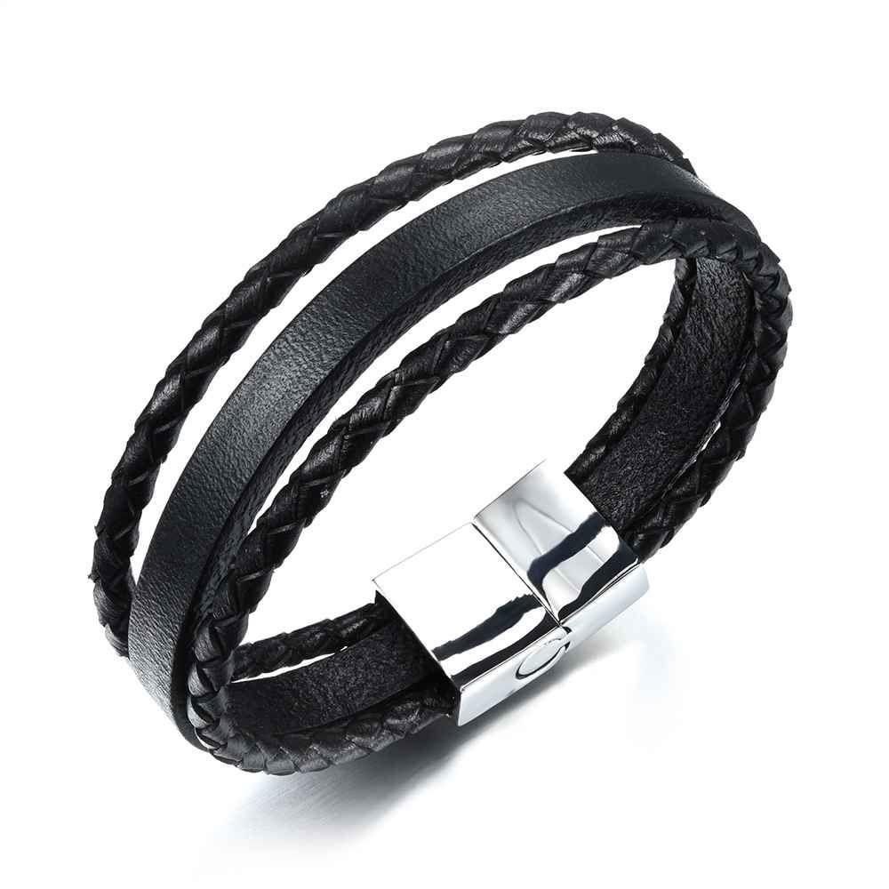 Genuine leather stainless steel men bracelet bangles black men