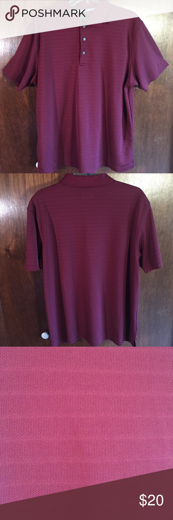 Men's Golf Polo Maroon men's golf polo from Kohl's. Horizontal stripes in same maroon color. Good condition. Great for a golf outing or nice event. Shirts Polos
