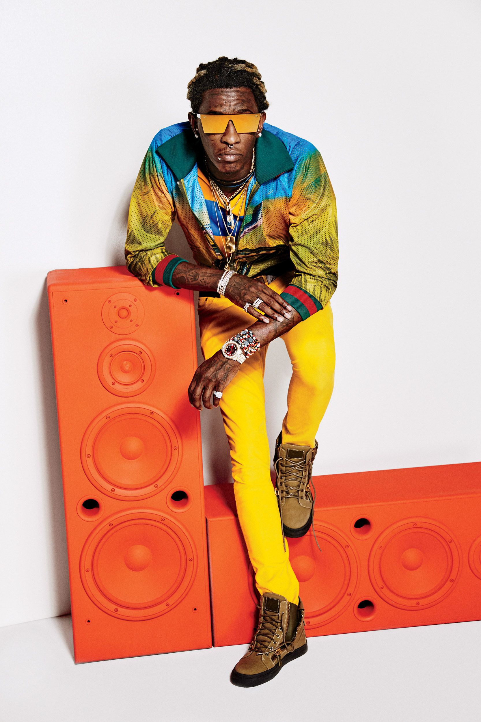 Young Thug Proves High Fashion Has Gone Crazy  Which Makes Total     yellow pants  tims Young Thug Proves High Fashion Has Gone Crazy  Which  Makes Total Sense   GQ