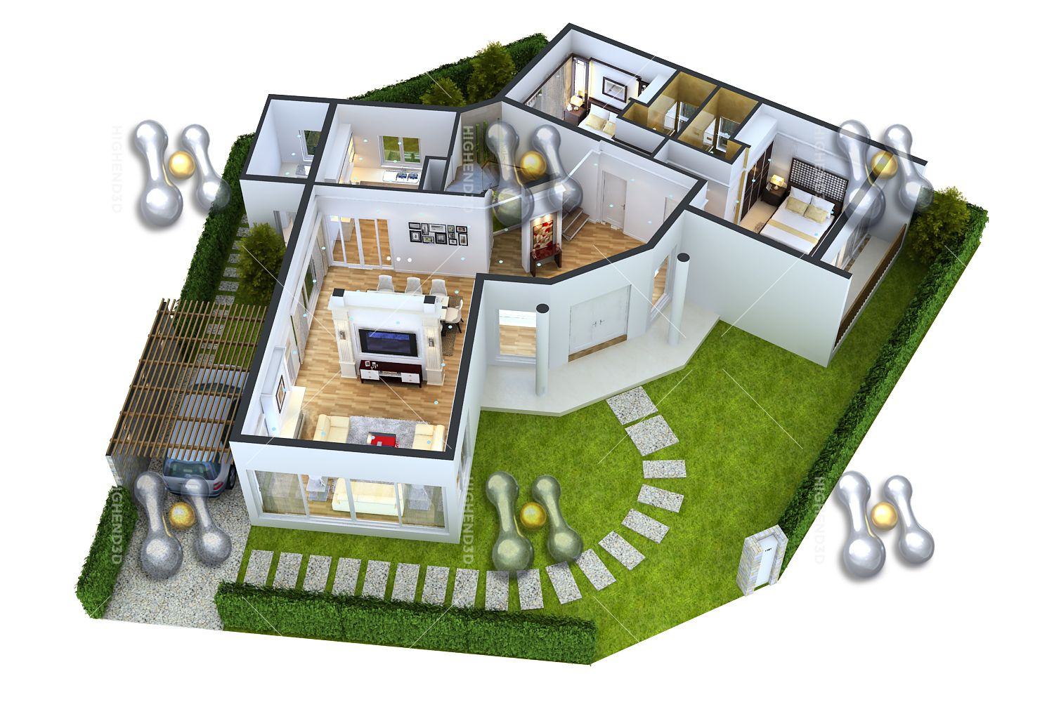 Simple house plan with 3 bedrooms 3d simple house plan for Small house plan design 3d