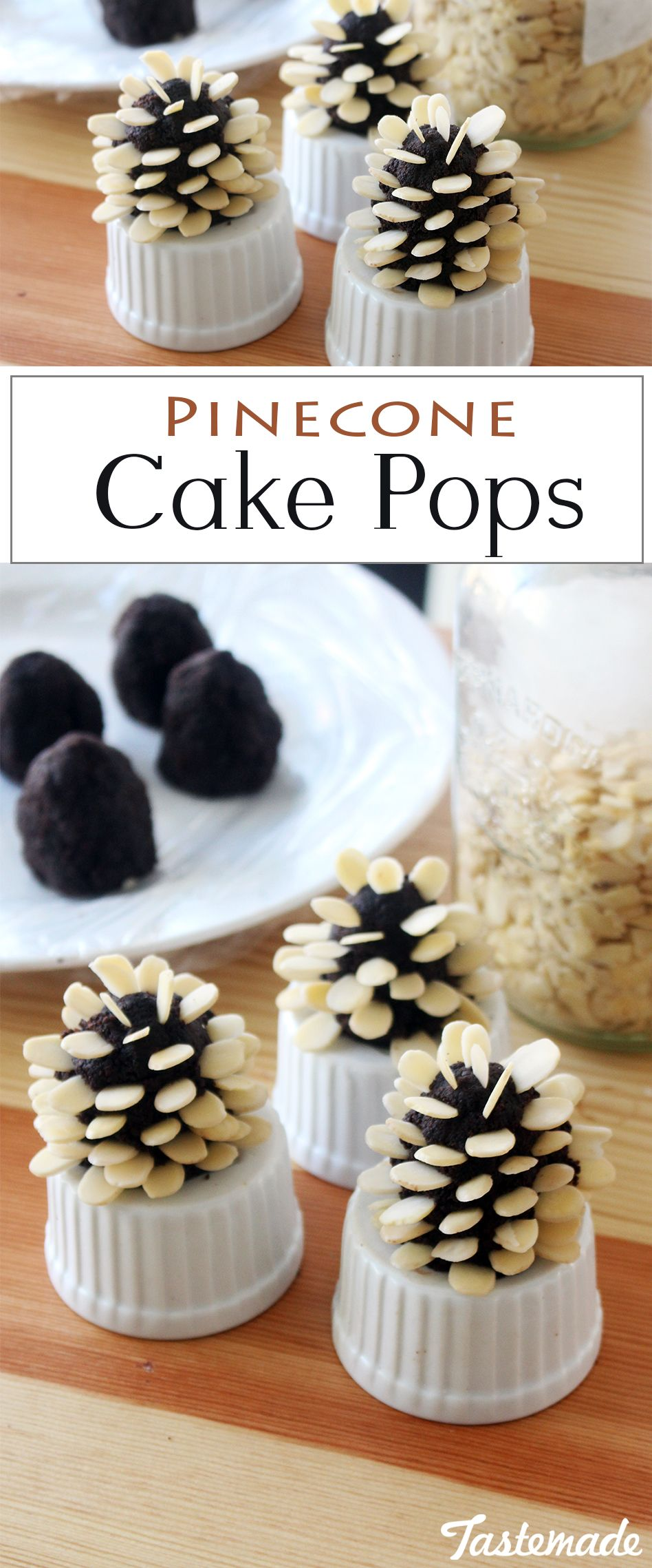 These chocolate cake pops are decorated with almonds to look like little pine cones!