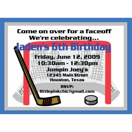 Hockey Birthday Invitation Party Ideas Pinterest Hockey