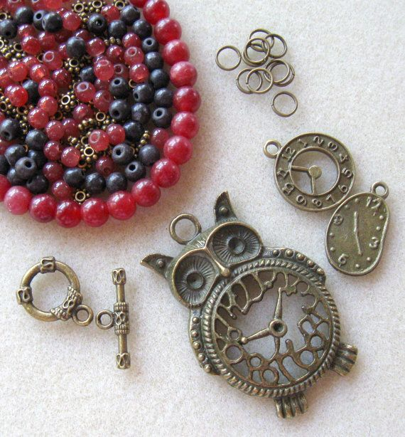 Steam Punk Owl Antiqued Brass Watch Charms by CatsBeadKitsandMore, $17.99