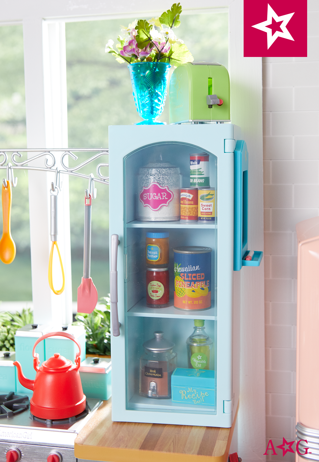 A place for everything, plus fresh flowers to brighten any kitchen ...