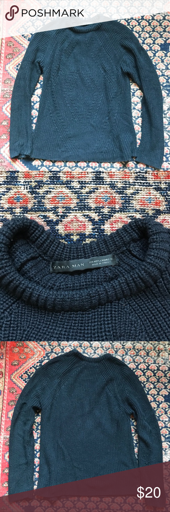 dac1203d ZARA MAN navy cable knit sweater size M ZARA MAN navy cable knit sweater  size medium Diamond knit pattern on front Great for layering!