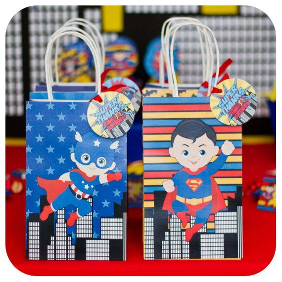 Superhero Party; Superheroes Birthday Party Favor Gift Bags Premade; Superheroes; Superheroes Gift Bags; Superhero themed party; Superheros