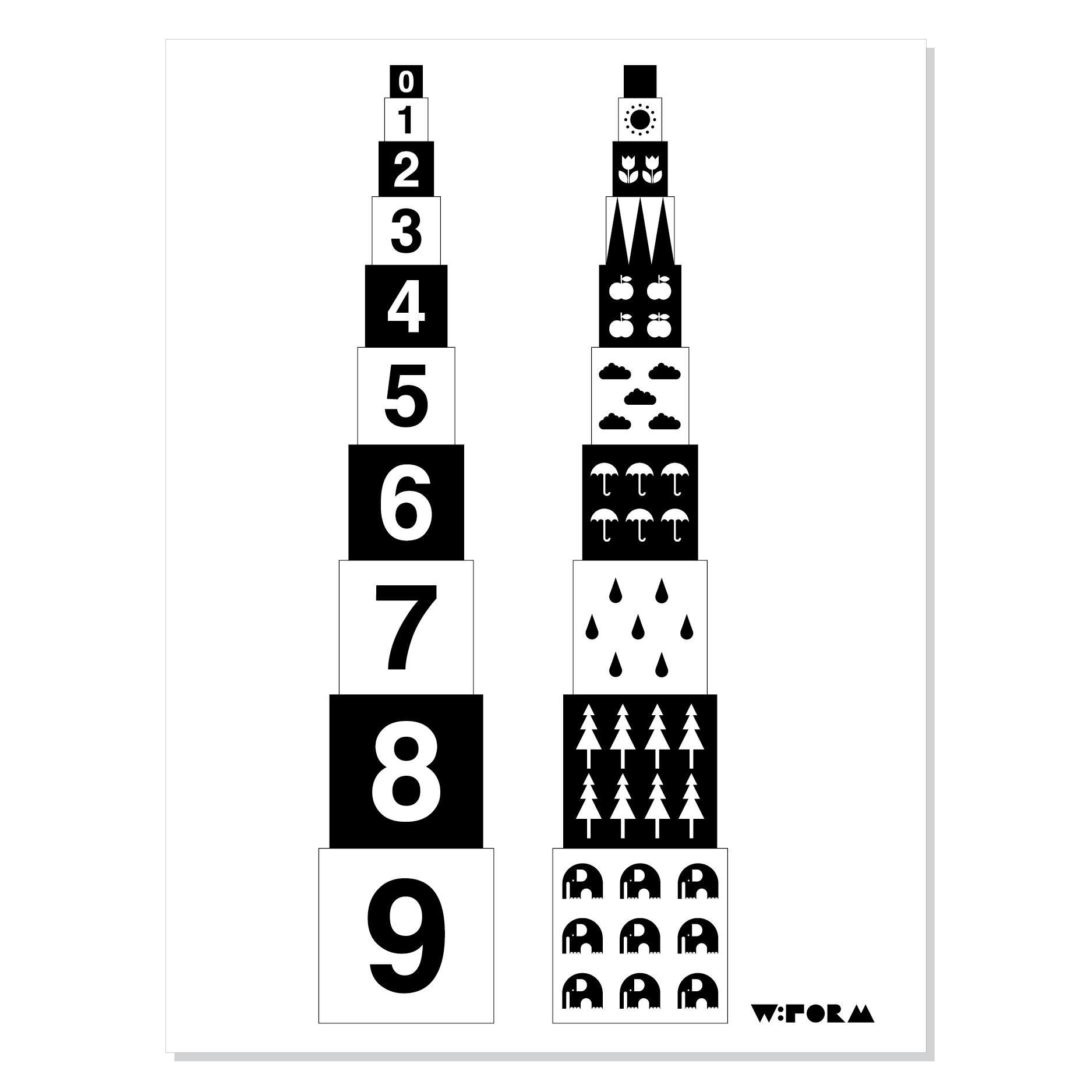 Numbers poster – Svart/vit från w:form hos ConfidentLiving.se