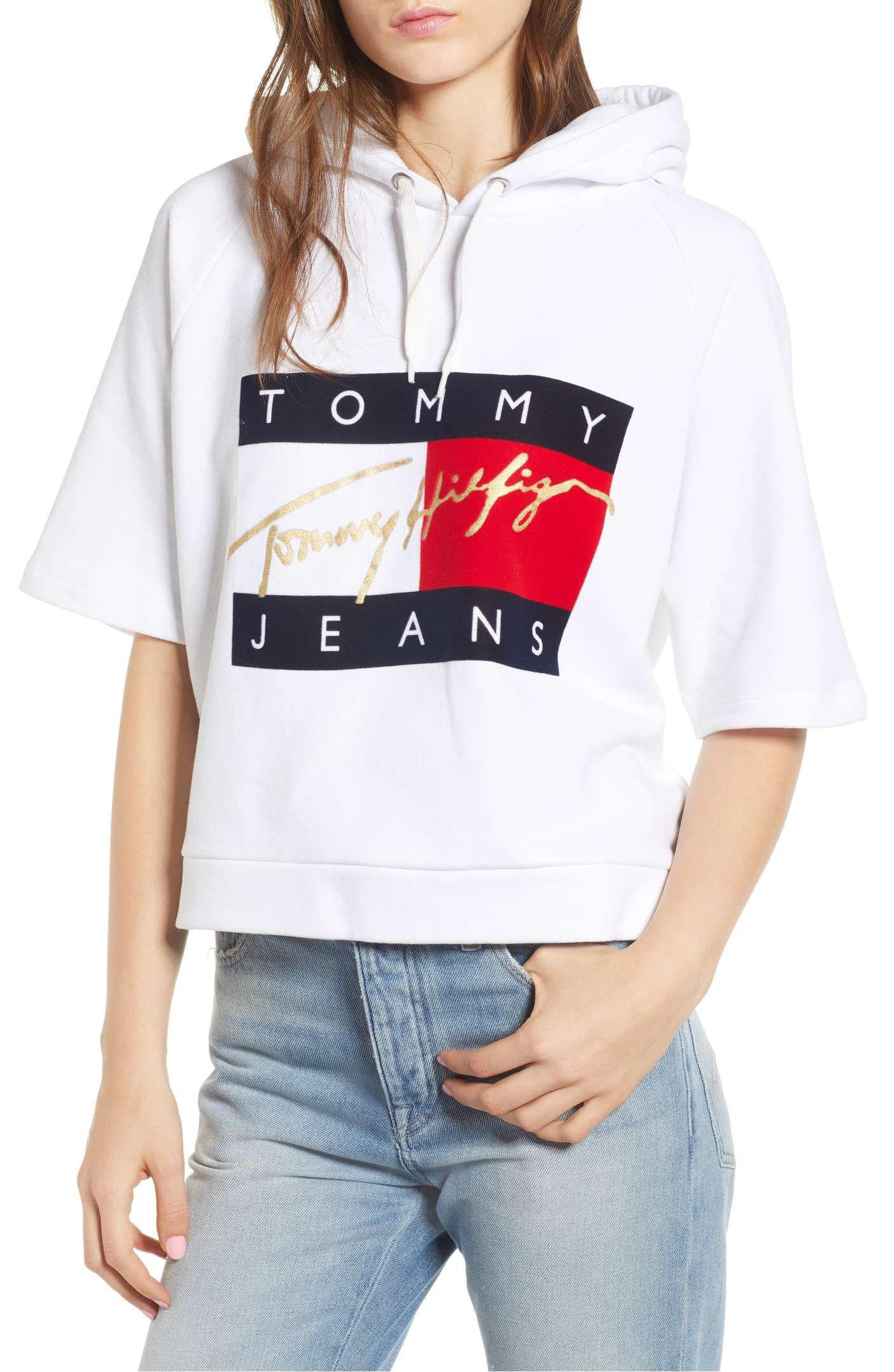 Tommy Jeans Logo Short Sleeve Hoodie Nordstrom Short Sleeve Hoodie Jeans Logo Sweatshirts Women [ 2160 x 1408 Pixel ]