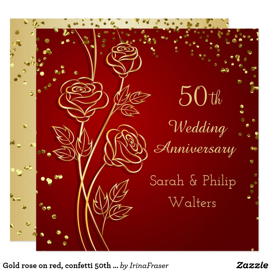 Gold rose on red, confetti 50th Anniversary Card 50th Wedding ...