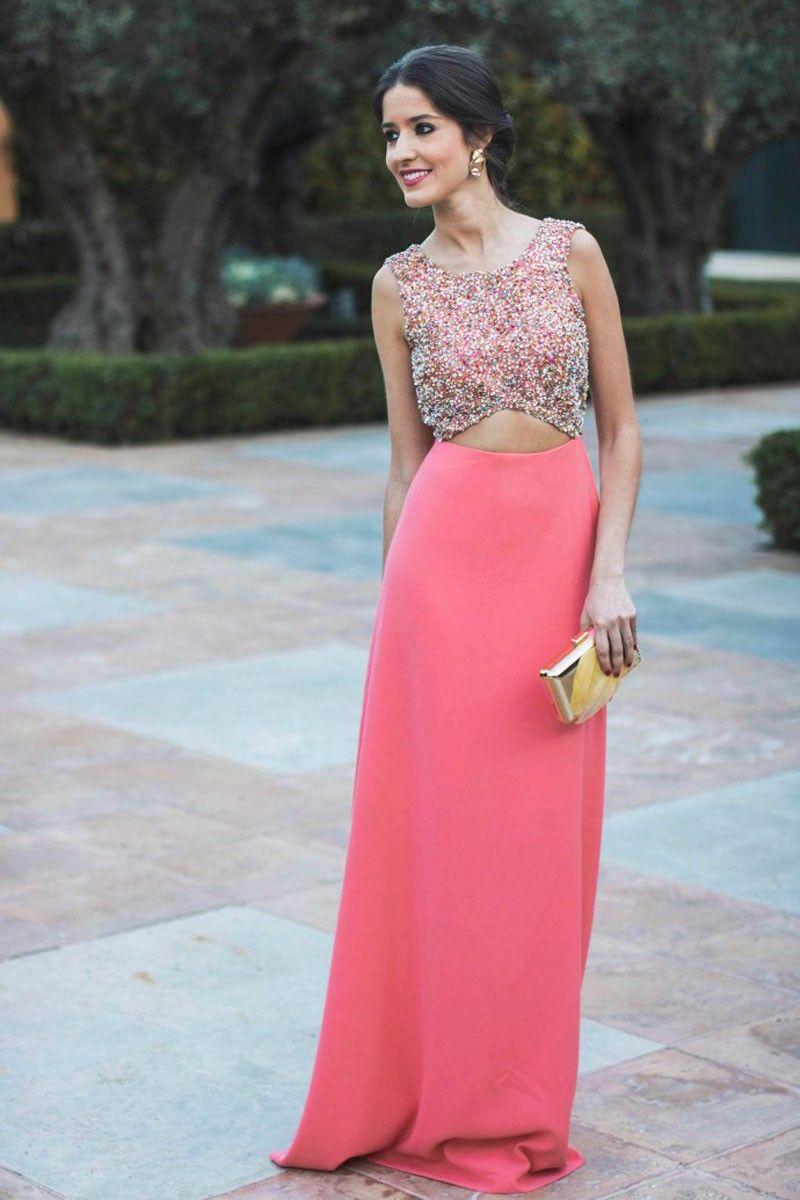 Vestido Largo Cuerpo Lentejuelas Aster | Fashion