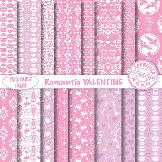 SEAMLESS 16 Digital Papers 'Romantic Valentine'  door PrintableTales