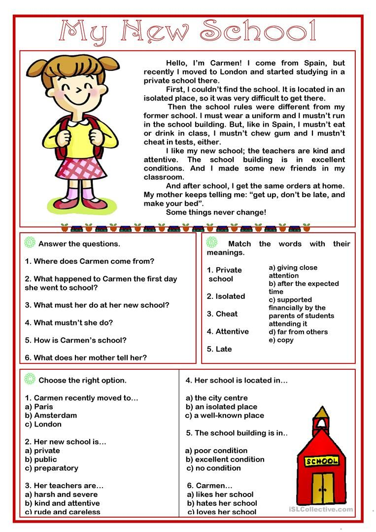small resolution of My New School -reading comprehension worksheet - Free ESL …   Free reading  comprehension worksheets