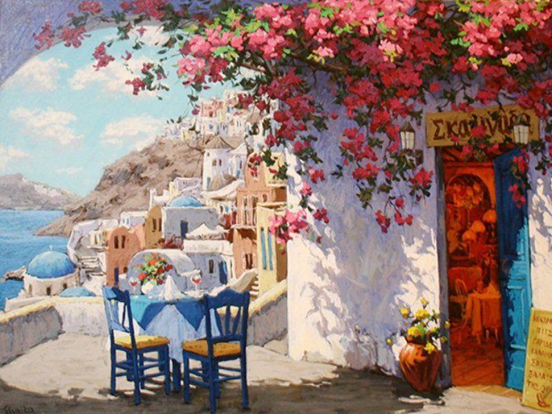 "Original Painting ""Vibrant Santorini, Italy"" by Victor Shvaiko"