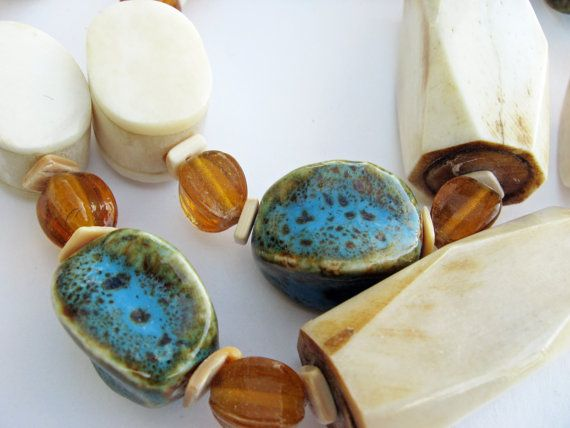 Bold African ivory with turquoise brown by creationsbycoleman