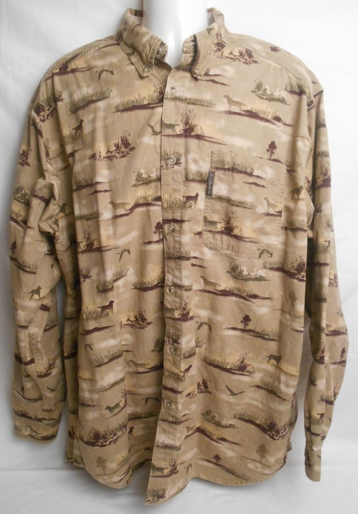 COLUMBIA Men's Brown 100% Cotton Size XLT Big & Tall Long Sleeve Shirt