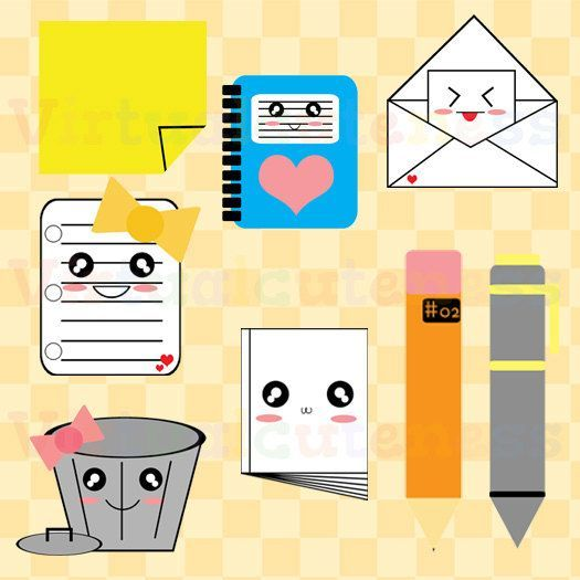 Office Clipart - Stationary Clip Art, Cute Clipart, Notebook, Paper, School Clipart, Envelope, Pencil, Pen, Free Commercial and Personal Use