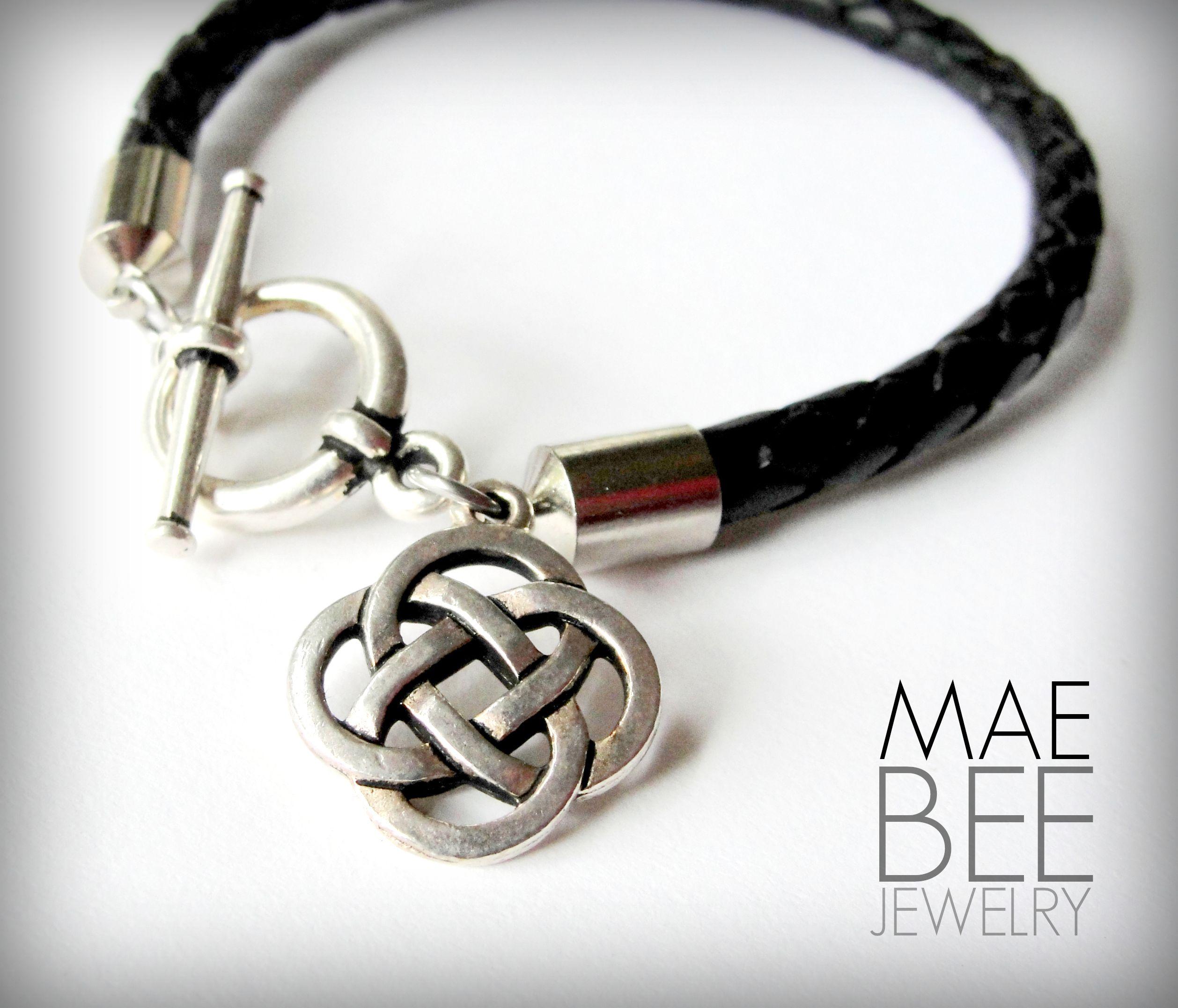 celtic knot on black braided leather bracelet from. Black Bedroom Furniture Sets. Home Design Ideas