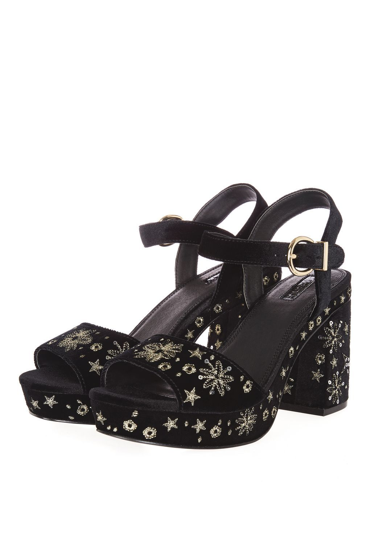 Lace Embroidered Platform Heels