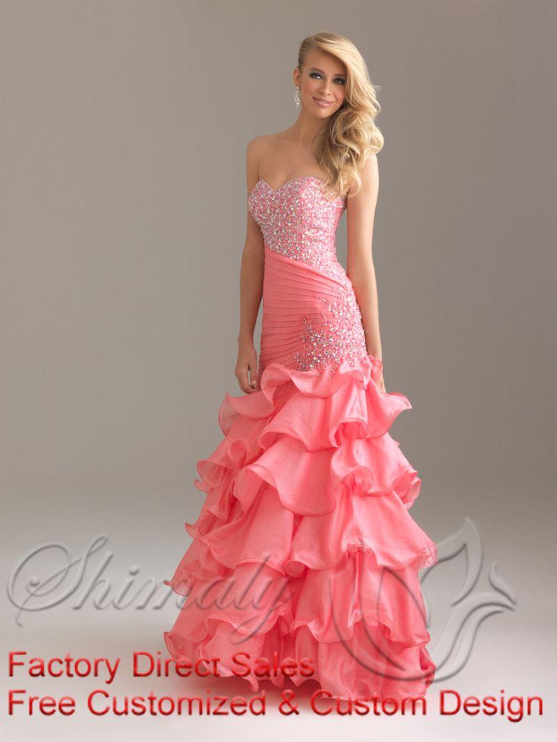 Pink Mermaid Sweetheart Floor Length Zipper Prom Dresses With ...