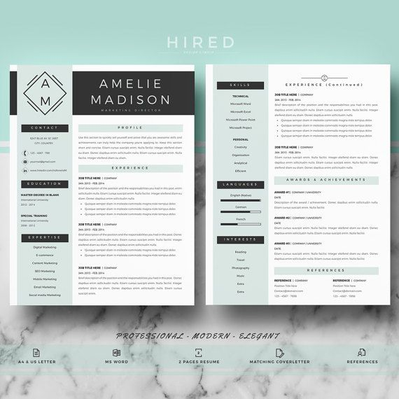 Professional  Modern Resume Template for Word Amelie - 100