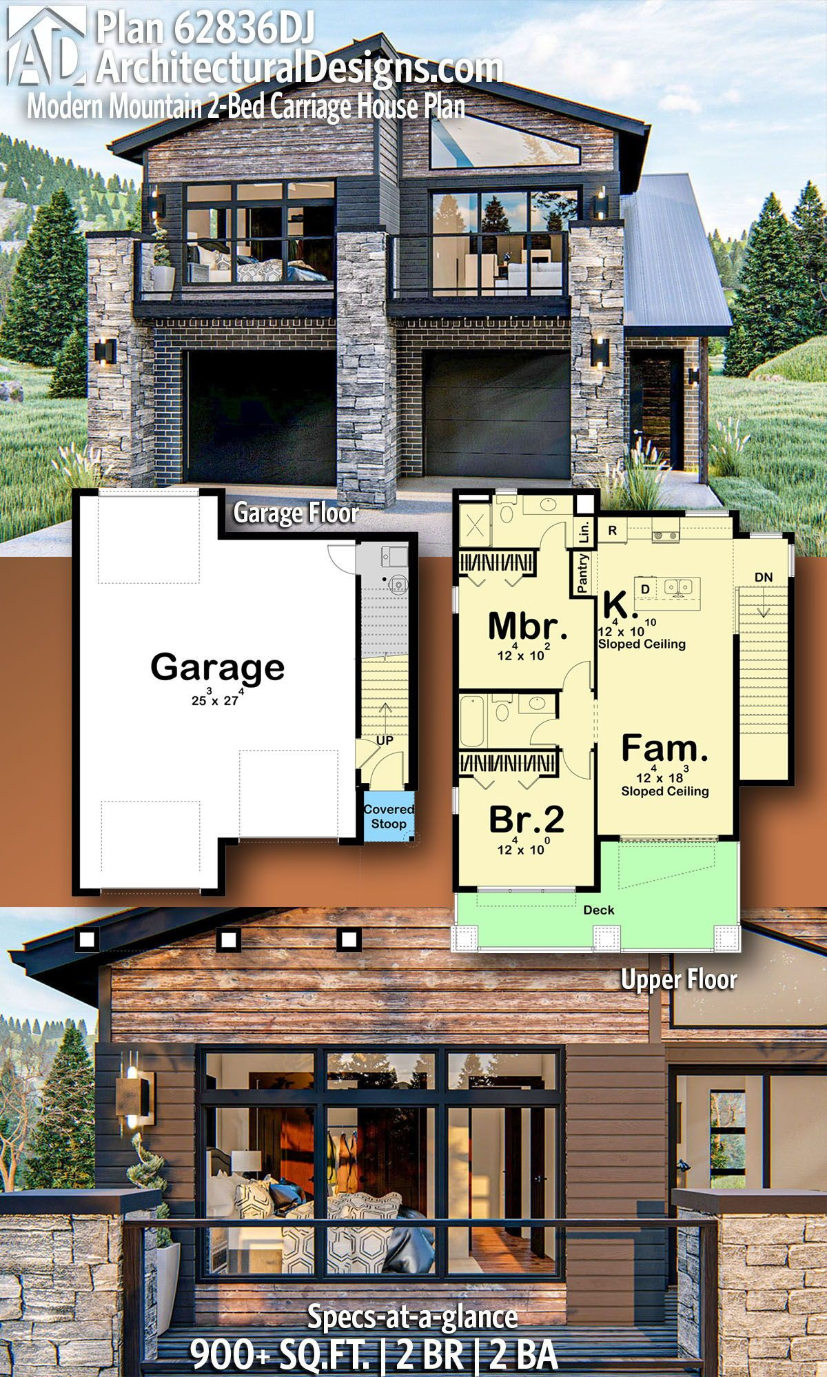 Plan 62836dj Modern Mountain 2 Bed Carriage House Plan In 2020 Carriage House Plans Garage Apartment Floor Plans Garage House Plans