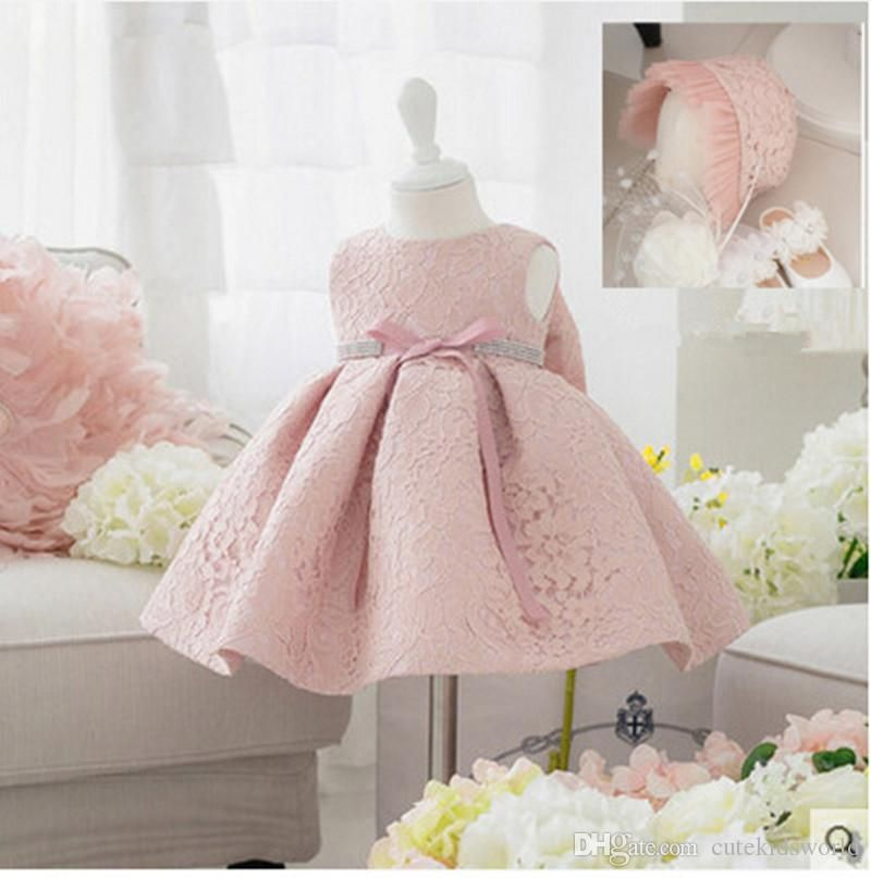 087f7988a236e 2016 New Summer Baby Girl Baptism Dress with Hat Gown Ball Pink ...