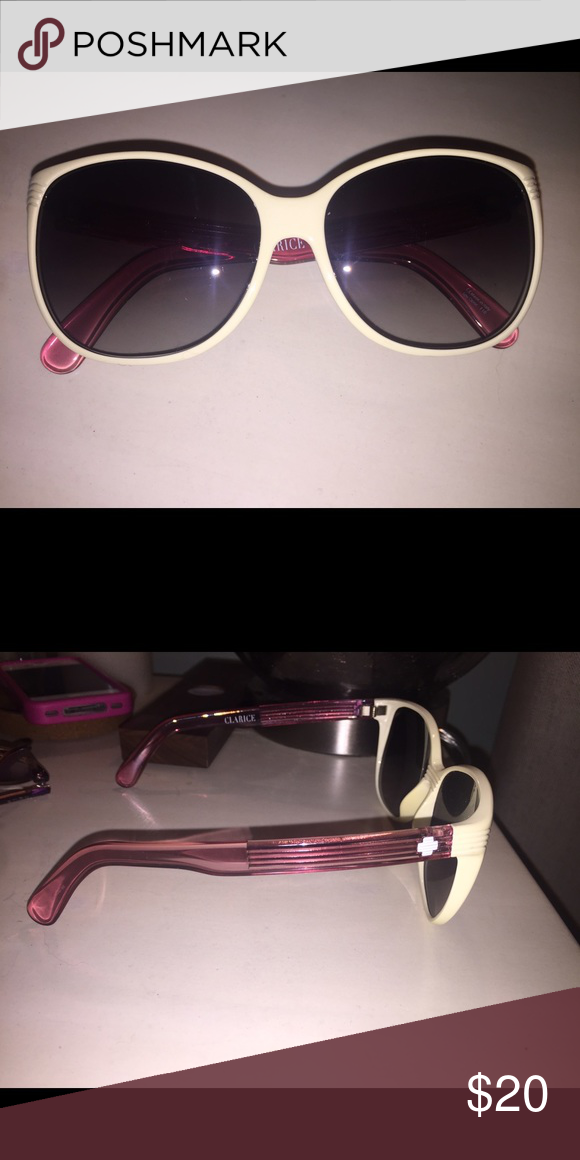 Spy glasses They show some wear and do have scratches to the lenses.. Lost the bag they come in. Cream/offwhite and pink color :) SPY Accessories Glasses