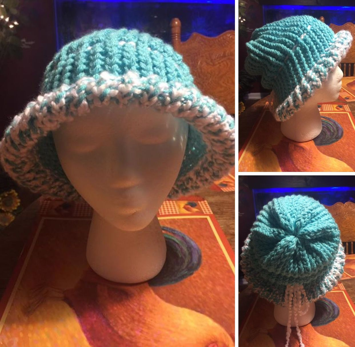 eb77a796df0 My summer hat I made on my knitting loom showing different angles of the hat !