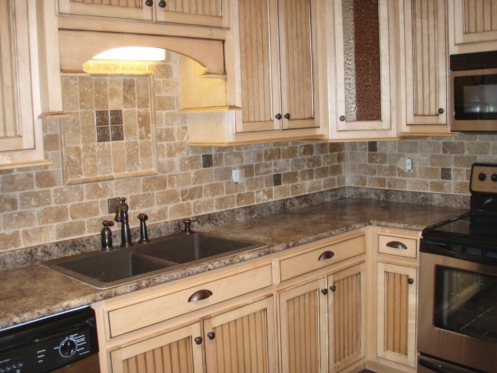 rustic white cabinets. Classic White Distressed Kitchen Cabinets Finished With Subway Stone Backsplash In L-shaped Country Decorations Rustic I