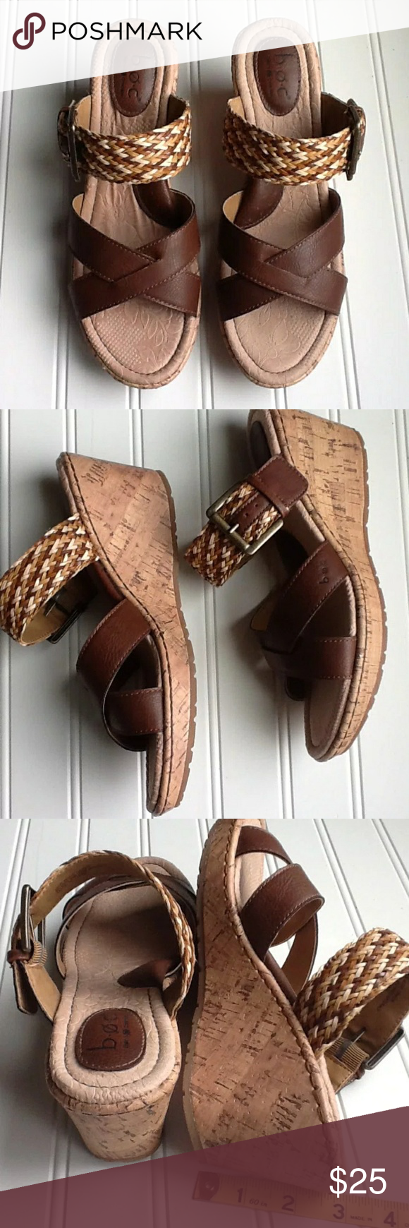 6ac2496250 B.O.C. Born Wedge Sandals BOC Born Concept slip on sandals. Woven multi  upper adjustable strap and solid brown lower strap. Born Shoes Wedges