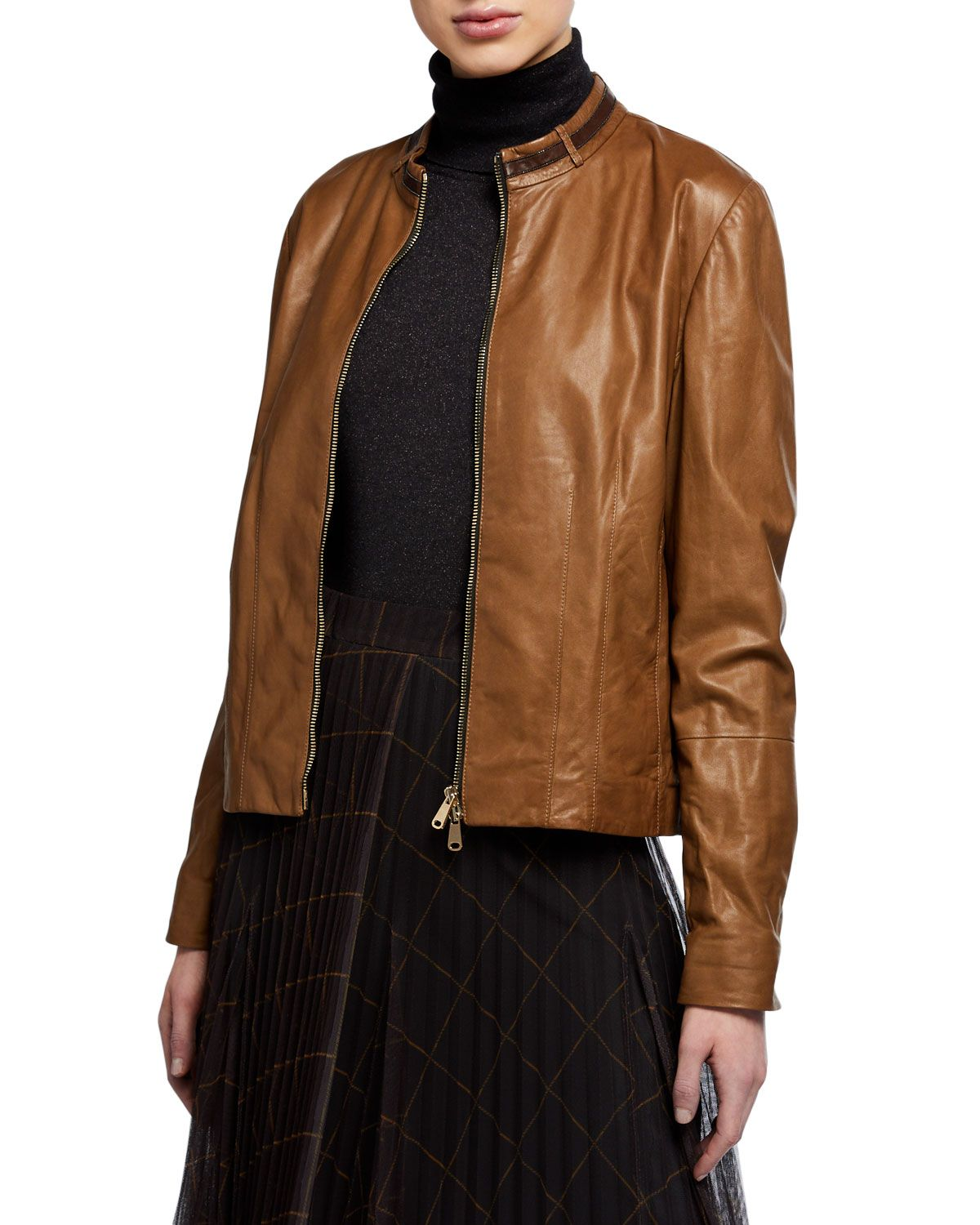 Brunello Cucinelli Monili Collar Leather Bomber Jacket And Matching Items Matching Items Leather Bomber Bomber Jacket Leather Bomber Jacket [ 1500 x 1200 Pixel ]
