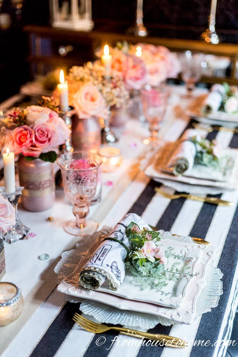Romantic Blush Pink Tablescape That Will Make Your Guests Swoon Entertaining Diva From House To Home Pink Tablescape Diy Floral Centerpieces Pink Table Settings