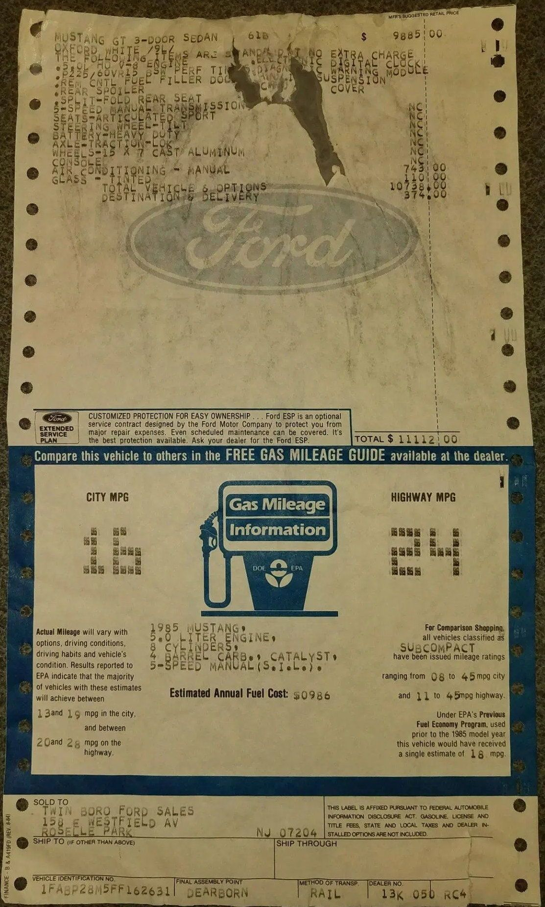 1985 Ford Mustang Gt Window Sticker In 2020 Ford Mustang Gt