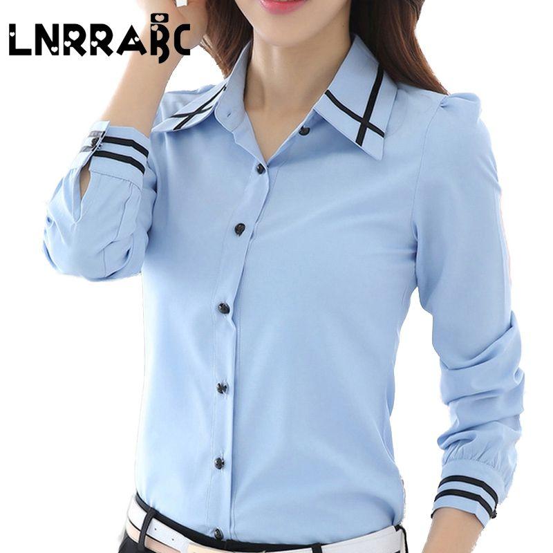 3f3f47e53d9 Mode Blanc Bleu Plus La Taille Manches Longues Turn-down Collar Formelle  Dames Élégantes Femme Chemise Dames tops blouse école