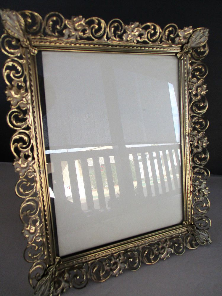 Vintage Shabby Ornate Decorative Gold Metal Picture Frame 8x10 Usa