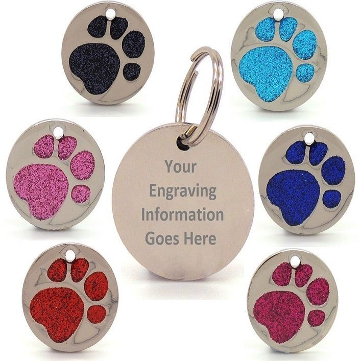 Details About Personalised Engraved Glitter Paw Print Tag Dog Cat Pet Id Tags Reflective Pet Id Tags Pet Id Engraved Pet Tags