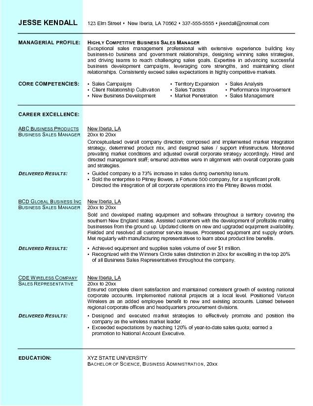 Example Business Sales Resume - Free Sample L u2022 Resume - resume format for sales manager