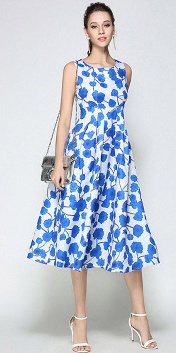 d693a7198 Vestido Midi Rodado Floral Festa Azul Amarelo