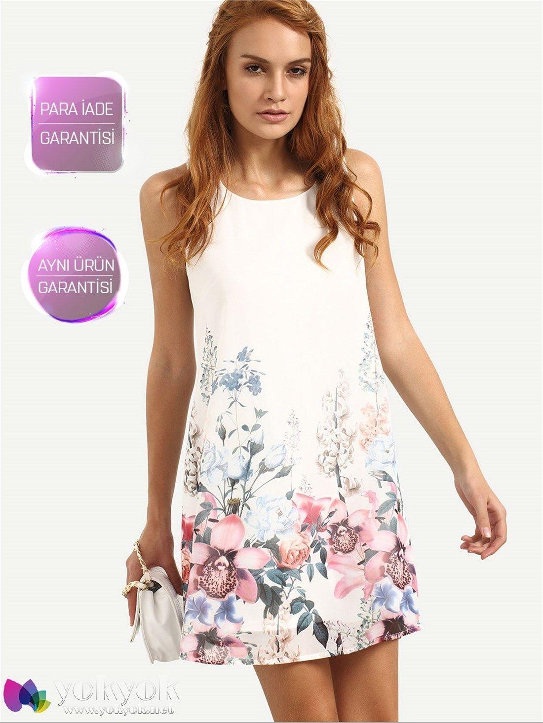 Beyaz Cicek Desenli Yazlik Elbise Kisa Elbiseler Kadin Giyim Kiyafet