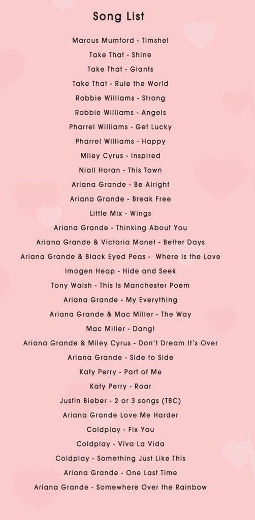 One Love Manchester Benefit Concert | Music | Song list