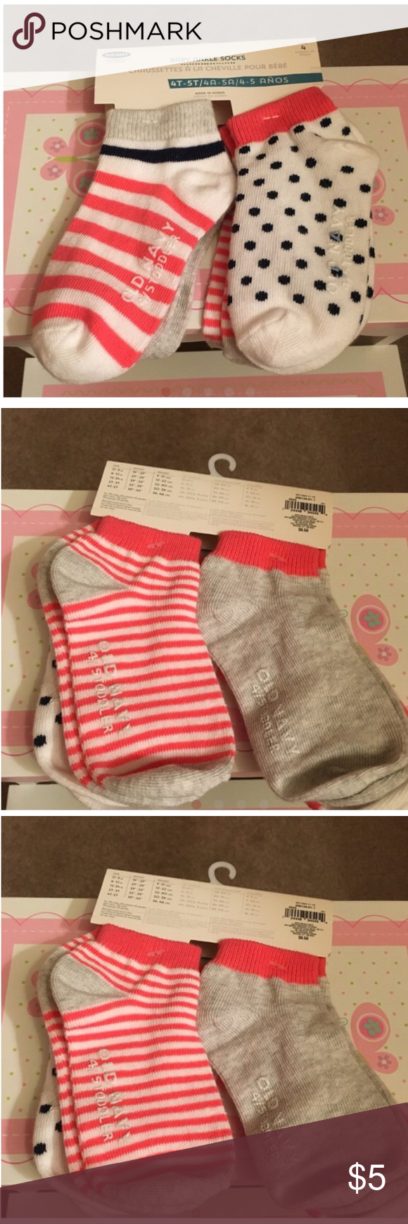 Adorable Ankle Socks! Super cute polkadot and striped socks from Old Navy. Colors are coral pink and navy blue. Old Navy Accessories Hosiery & Socks