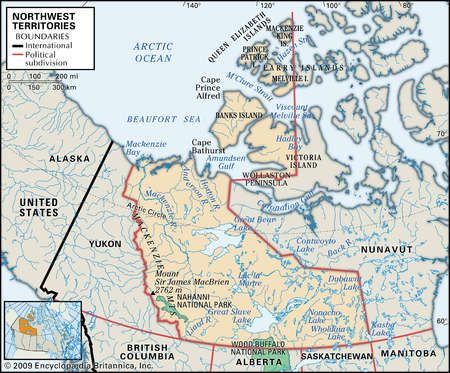 Physical map of Northwest Territories Canada showing major