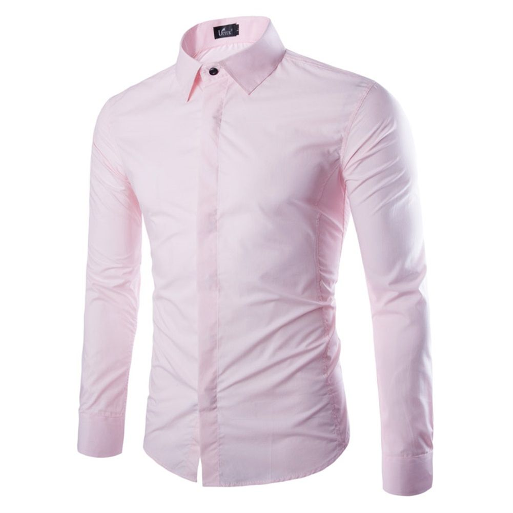 Classic Slim Fit Long Sleeve White Dress Shirts For Men Solid 8 ...