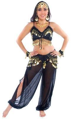 31d0036e6 6-PIECE HAREM GENIE BELLY DANCER COSTUME (BLACK) - Item #3720 on  www.bellydance.com