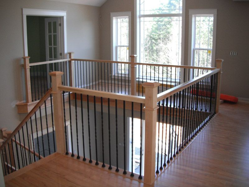 Plain Iron Balusters, Wood Newels, No Knuckles, Shoes, Post To Post