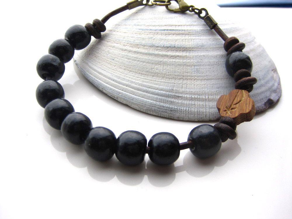 Wood Bead Leather Rosary Bracelet For Men