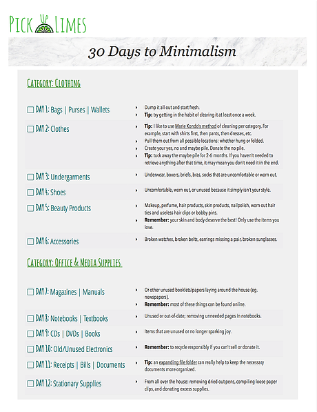 30 Days To Minimalism Video And Printable Guide Checklist By Pick Up Limes Minimalism Challenge Printable Guide Pick Up Limes Blog