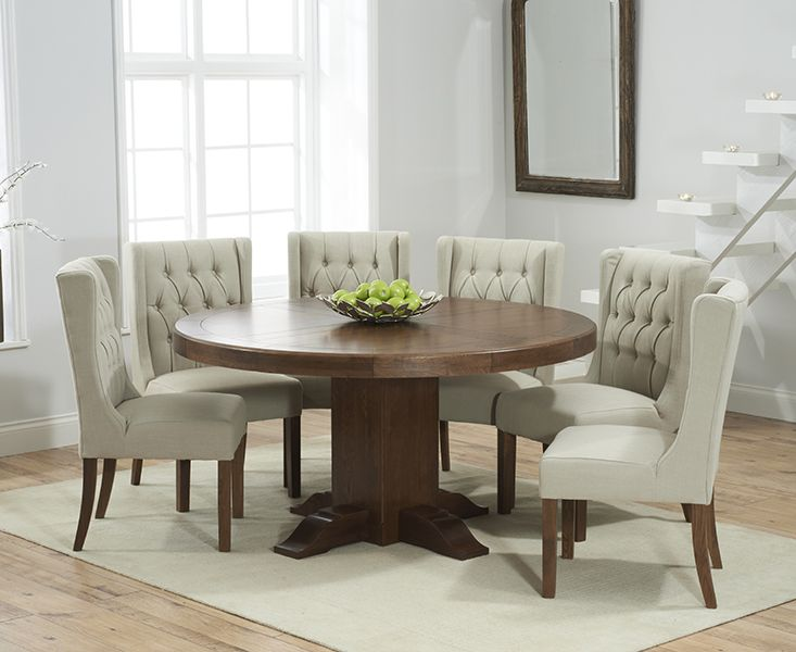 66eb76cad902 Buy the Torino 150cm Dark Solid Oak Round Pedestal Dining Table with Safia  Fabric Dark Oak Leg Chairs at Oak Furniture Superstore