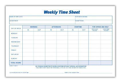 Weekly Time Sheet Products Pinterest