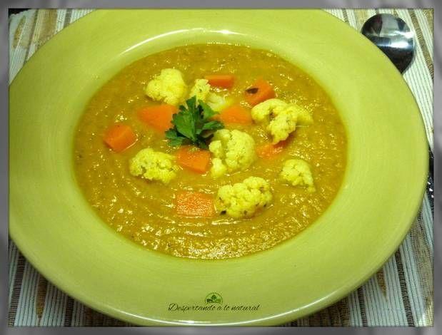 Sopa crema de calabaza y coliflor (vegana)